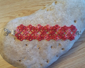 Shades of Red Tatted Bracelet