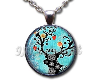 Reindeer Silhouette Holidays - Glass Dome Pendant or with Chain Link Necklace HD152