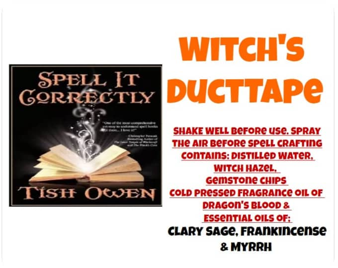 Witch's DuctTape Spell Spray splt032  Companion Spray for Tish Owen's book Spell it Correctly