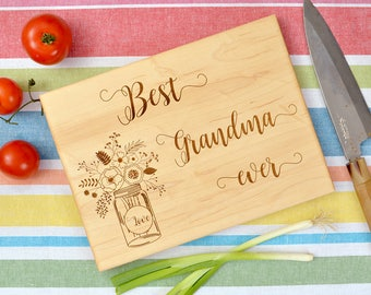 Best Grandma ever cutting board, custom cutting board, laser engraved cutting board, birthday gift, Mother's Day gift.