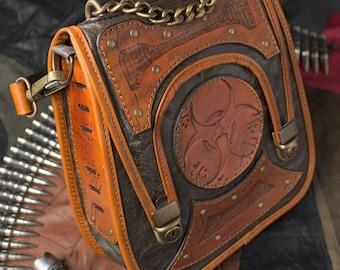 Zombie apocalypse leather steampunk bag