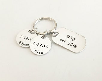 Father's Day Gift from Kids - Father's Day Keychain Personalized - Dad Established - New Dad Gift - Dad Keychain Personalized