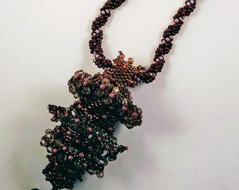 Purple Moveable Parts Bead Woven Necklace