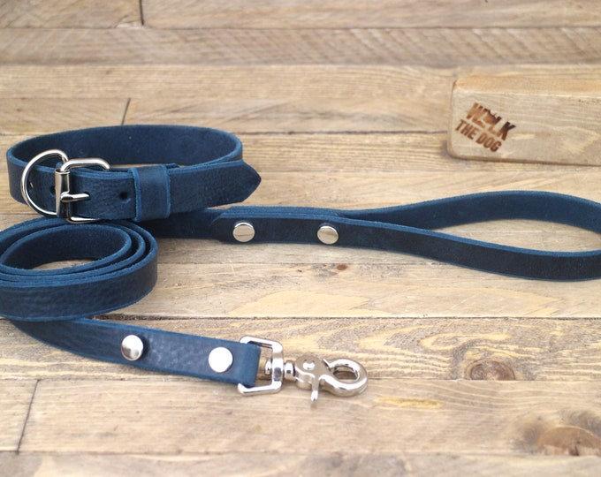 Leather dog collar, Collar, Leash, Set, FREE ID TAG, Deep ocean, Handmade leather collar, Silver hardware, Leather leash, Dog collar, Puppy.