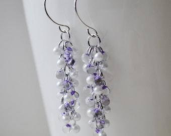 Shaggy Purple and White Glass Bead Earrings Handmade