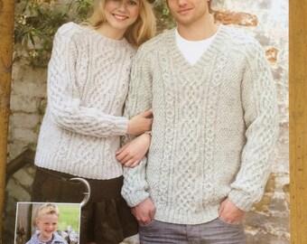 Sirdar  Aran Child/Adult Jumper Knitting Pattern - 9219