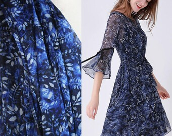 100% Fine Silk Chiffon fabric Leaf Print Dress Fabric Light Weight Summer Dress Fashion Fabric blouses,skirts, Scarves, by the yard