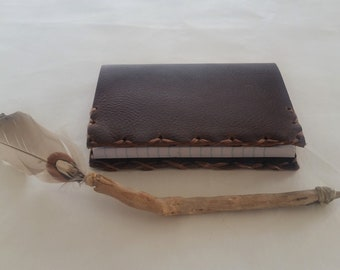 Brown Mini Composition Book Cover, Leather Mini Notebook, Travel Notebook, Pocket Notebook