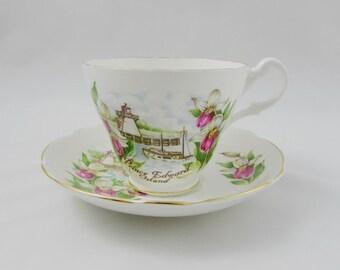 Tea Cup and Saucer, Prince Edward Island Souvenir, Royal Stuart, Vintage Bone China, Lady Slipper Flower