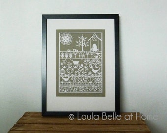 Reduced - Was 85GBP Now 50GBP - The Good Life - an original hand cut paper cut from a template by Loula Belle at Home