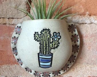 Cactus Art, Wall Pocket, Vase, Ceramic Planter, Succulent Planter,  Handmade, Garden Art, Air Plant Holder, Plant Pocket, Wedding Favor