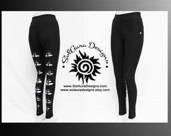 DESIRED - Junior/Women Super Cute Non-See Through Leggings Cut and Weaved Black Leggings, Festival Wear, Yoga Wear, Anytime Wear