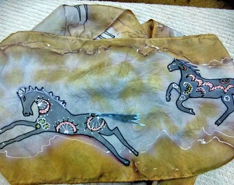 Hand painted running horses silk scarf browns and grays FREE ship US and CANADA