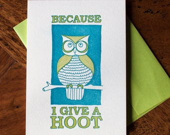 Because I Give a Hoot - Card