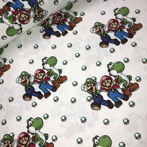 mario brothers fabric - mario - video game-  fabric- material -sewing -supply  - bty -1 yard