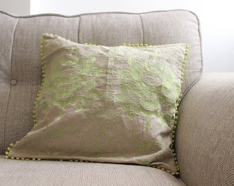 Beige and Green Cushion Cover