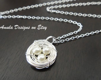 White Bird Nest three Egg Wire Wrapped Pearl Tarnish Resistant Necklace