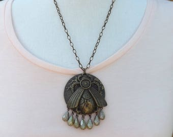Steampunk beetle pendant, cyberpunk pendant, metal pendant, animal pendant, steampunk jewellery, quirky pendant
