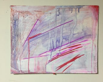 pink matter mixed media abstract painting on canvas board