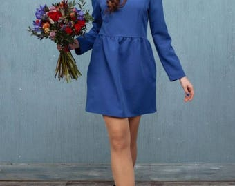 Blue mini dress with pockets, spring dress with long sleeves ALLEGRETTO by Nadi Renardi