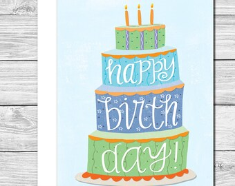 Celebrate with a big cake hand drawn birthday card