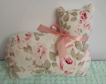 Rachel Ashwell Rosalie Linen Fabric Cat Pillow handmade by sewbuzyb
