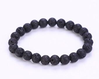 Natural Black Lava Stone Bead Bracelet