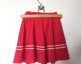 Vintage Red and White Nautical Swing Skirt Size 6 - OSVKC0037