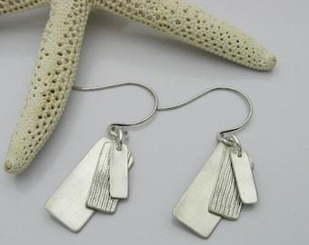 Silver Dangle Earrings, Handmade Silver Earrings, Matte Silver, Simple Earrings, Casual Earrings, Trendy Earrings, Geometric Earrings