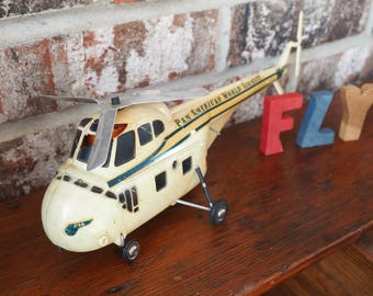 1950s Electric Helicopter - Model Sikorsky S-55 with Pan American Decal - Made in West Germany - Bedico Elektrische Hubschrauber