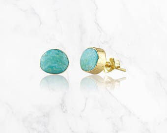 Turquoise Earrings Gold Filled Druzy Jewelry Turquoise Jewelry Gift for Her Turquoise Stud Bridesmaid Jewelry Natural Turquoise Gold Studs