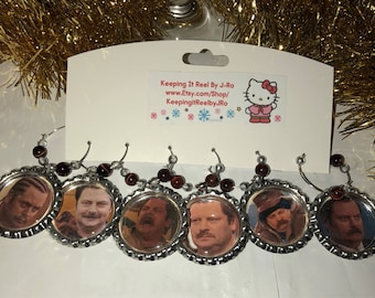 The Faces of Ron Swanson wine charms