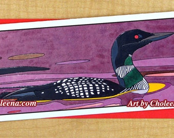 Loon Mosaic Card- Greeting Card- Large Long Card- Any Occasion- Blank Card- Bird Card- Purple sunset loon Card- purple water Card