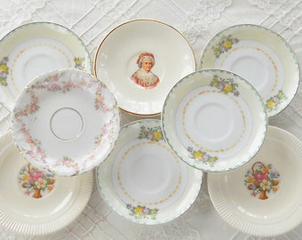 Shabby Cottage Mismatched Demitasse Saucers, Set of 8, Tea Party, Wedding, Cottage Chic, Vintage, Doll Plates, Replacement China