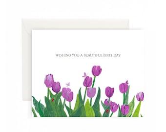 Purple Tulip Garden Happy Birthday Greeting Card