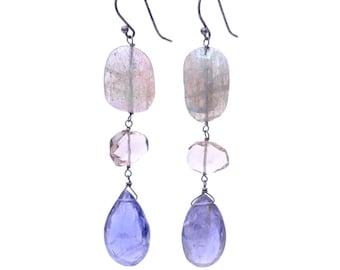 Labradorite Smoky Quartz and Iolite Gemstone Earrings