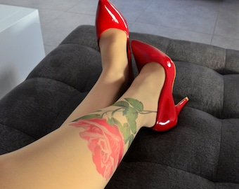 S-XXL Sizes Available , Semi-sheer Flower Handprinted Tattoo Tights , Tattoo Tights , Rose Pantyhose