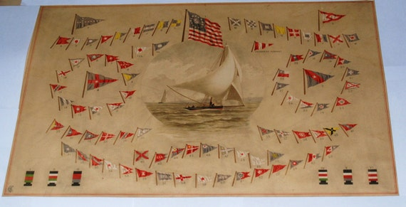 1884 Frederick Cozzens Chromolithograph of Signal Flags from American Yachts