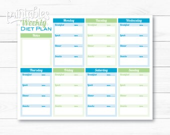 Weekly Diet Planner PDF, Meal Planner Template, Printable Menu Planner Instant Download, Fitness Planner, Food Journal with Calorie Counter