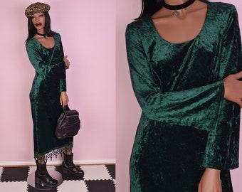 90s Green Crushed Velvet Maxi Dress/ US 8/ 1990s/ Long Sleeve