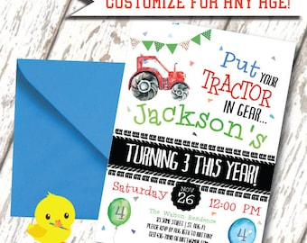 Tractor Birthday Invitation | Farm Invite | Tractor Invite | Printable Invitation | Tractor Party | Tractor Birthday | Boy Invite | DIGITAL