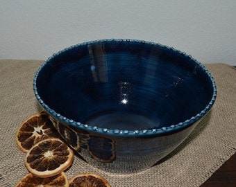 deep blue serving bowl, vegetable dish, casserole bowl, salad bowl, fruit bowl, decorative bowl, pasta bowl, home decor