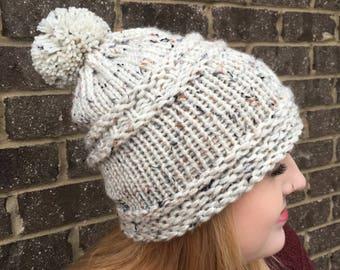 Slouchy Knit Beanie/Beanie Hat/Pom Pom Hat/Hand Knit Hat/Winter Hat/Knit Hat/Slouchy Hat/Adult Knit Hat