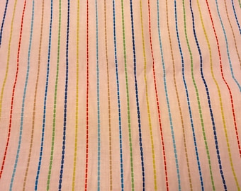 Fabric white red yellow blue green brown stripes Modern Design Cotton Fabric House textilies Fabric Scandinavian Design Scandinavian Textile