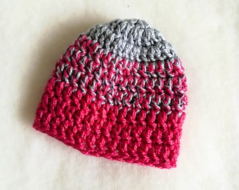 Slouchy Barbie doll beanie. Pink and gray hat.