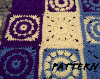 CROCHET PATTERN Circle Center Granny Square Pattern No.1