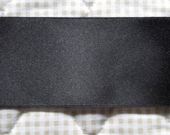 Ribbon SATIN Double sided black 50 mm (5cm) - for sale by the yard
