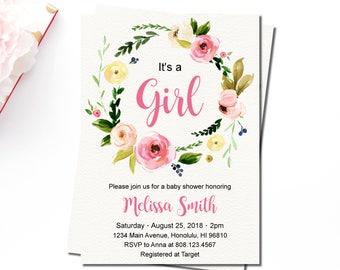 Boho Baby Shower Invitation, Girl Floral Baby Shower Invitation, Pink Floral Wreath, Personalized Printable Invitation, C37