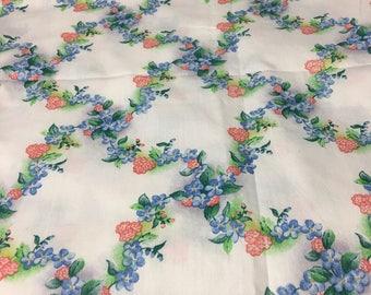 VTG 50s 60s Darling trellis floral cotton fabric 2y