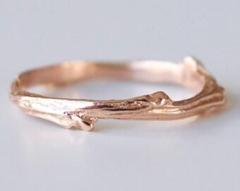 Sterling Silver Leaf Twig Wedding Band Tree Branch Ring